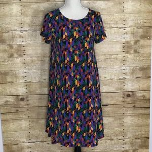 LULAROE CARLY DRESS EUC GEO PATTERNS XS